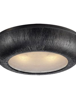 "Kelly Wearstler Kelly Wearstler - Utopia Medium Round Flush Mount - Aged Iron - H4.5"", W18.75"""