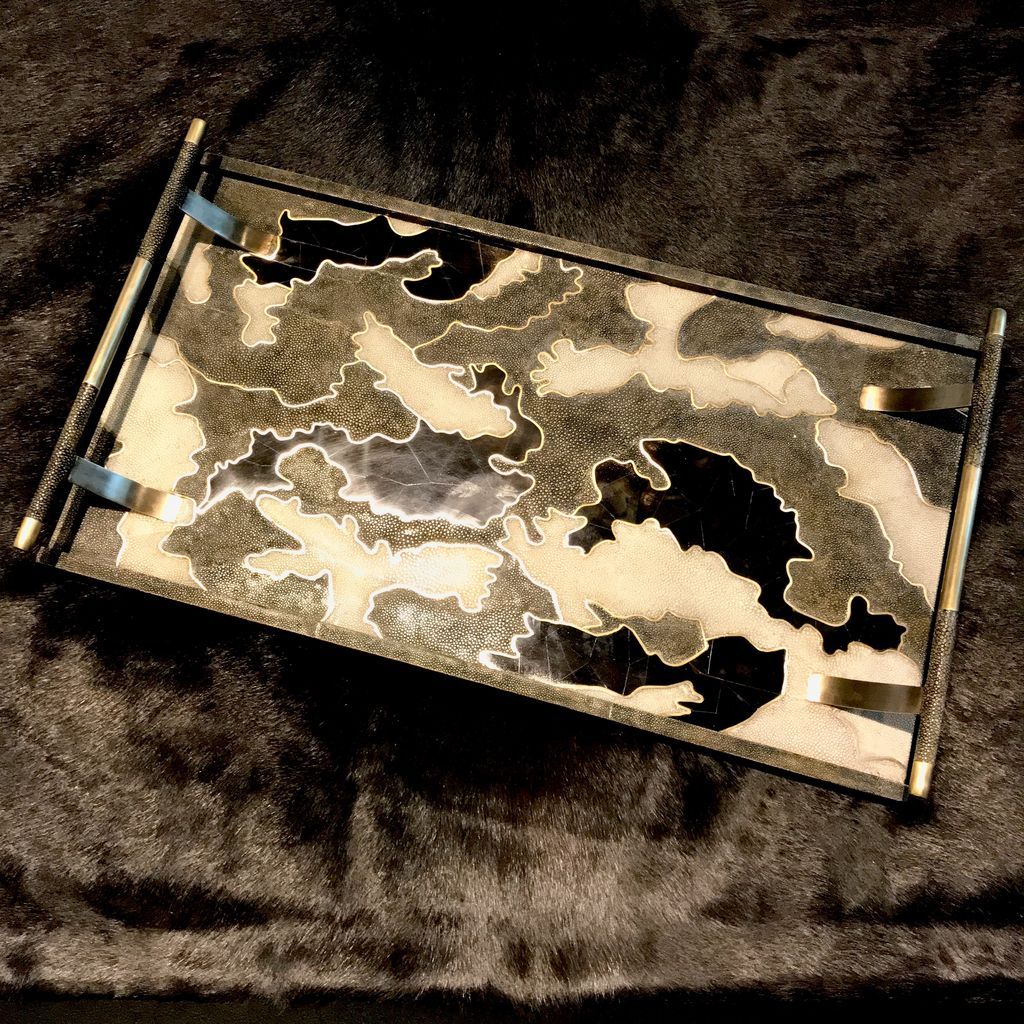 R&Y Augousti R&Y Augousti - Tray with Bronze Handle in Camouflage - Shagreen Brass & Blackpen shell - 61x34cm - Currently by Order Only - Delivery 6 weeks
