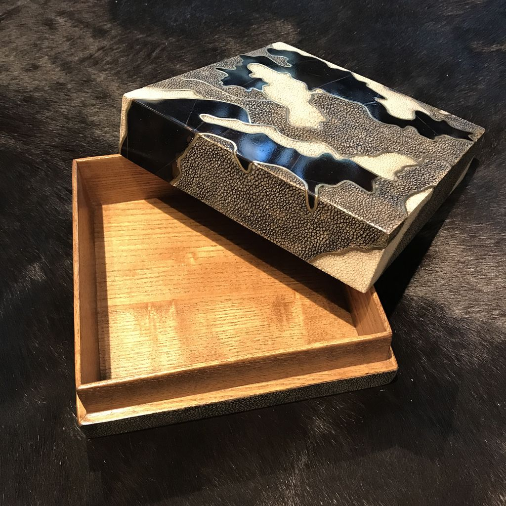R&Y Augousti R&Y Augousti - Square Box in Camouflage - Shagreen Brass & Blackpen Shell - 18x18x6cm - Currently by Order Only - Delivery 6 weeks