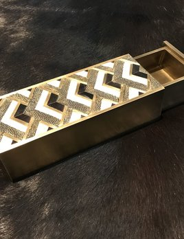 KIFU KIFU - Bullion Slide Box - Gemectric Pattern - Shagreen, Brass & Blackpen Shell - 20x7.5x5cm - Paris - Currently by Order Only - Delivery 6 weeks