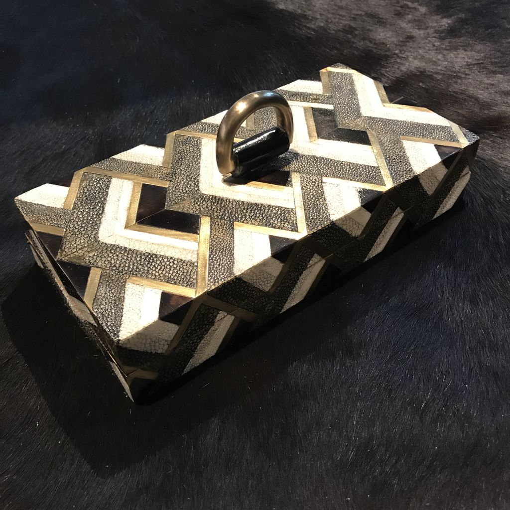 KIFU KIFU - Rectanglar Box with Brass Handle - Gementric Pattern - Shagreen & Blackpen shell - 20x10x4cm - Paris - Currently by Order Only - Delivery 6 weeks