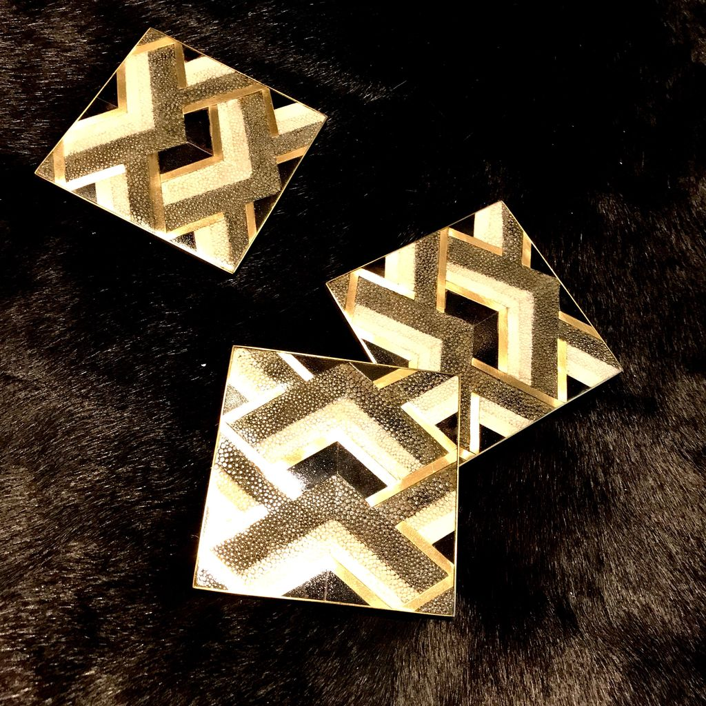 KIFU KIFU Paris - Queen Coaster - Geometric Pattern - Shagreen & Blackpen Shell - 10x10cm