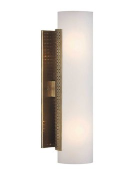 Kelly Wearstler Kelly Wearstler - Precision Tube Sconce - Antique Burnished Brass with White Glass