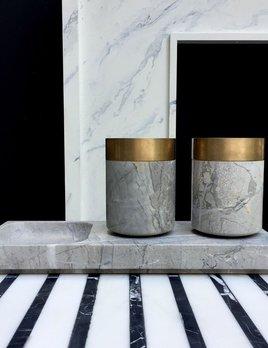 Michael Verheyden Michael Verheyden - BATHROOM LUX - Cup or container (one only) in grey marble with solid bronze - Belgium