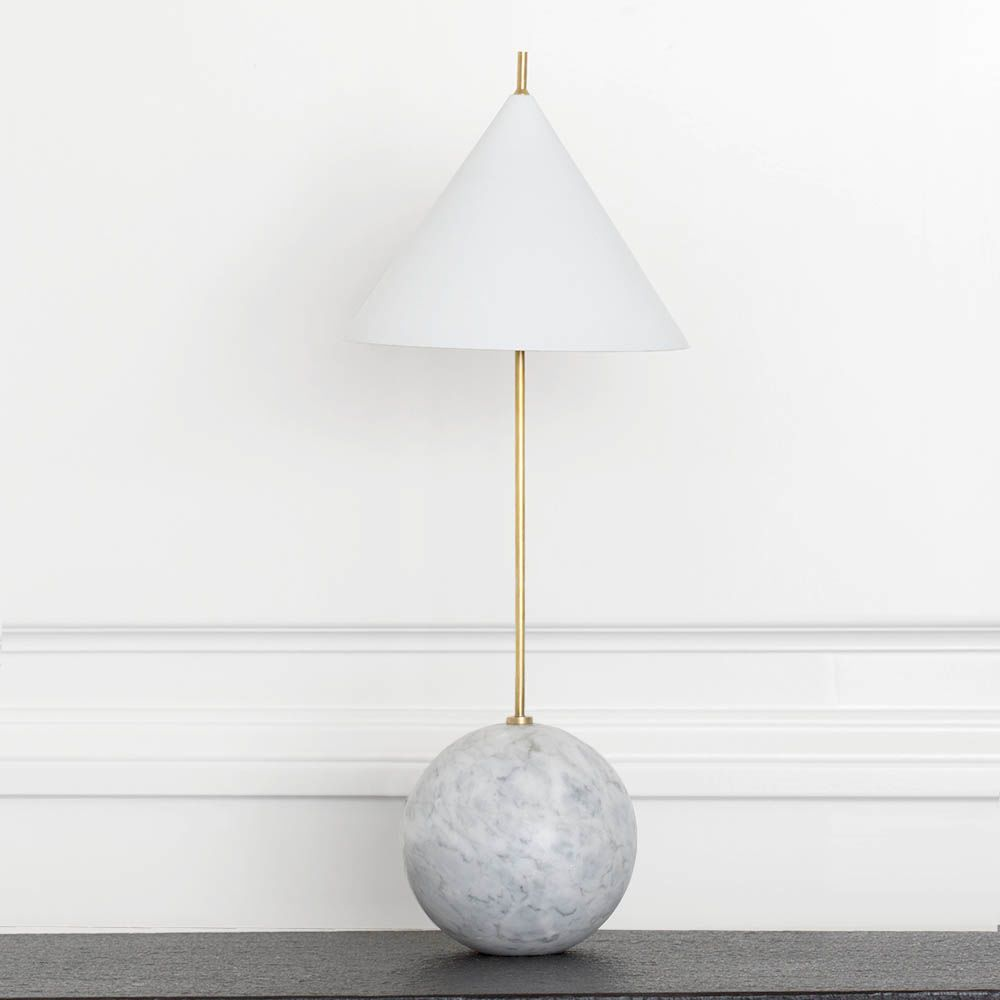 Kelly Wearstler Kelly Wearstler - Cleo Orb Base Accent Lamp in Antique-Burnished Brass with White Shade