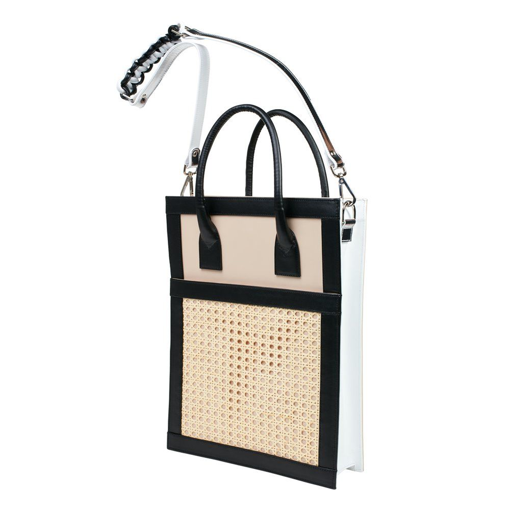 Sagan Sagan Vienna Shopper Tote - Large - Black and Beige