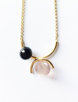 Ana Joao Ana Joao - Candy Necklace with Rose Quartz and Onyx