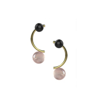Ana Joao Ana Joao - Candy Earrings with Rose Quartz and Onyx