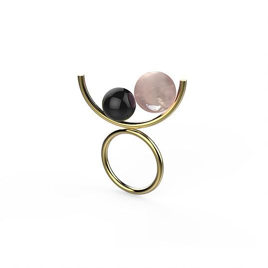 Ana Joao Ana Joao - Candy Ring with Rose Quartz and Onyx