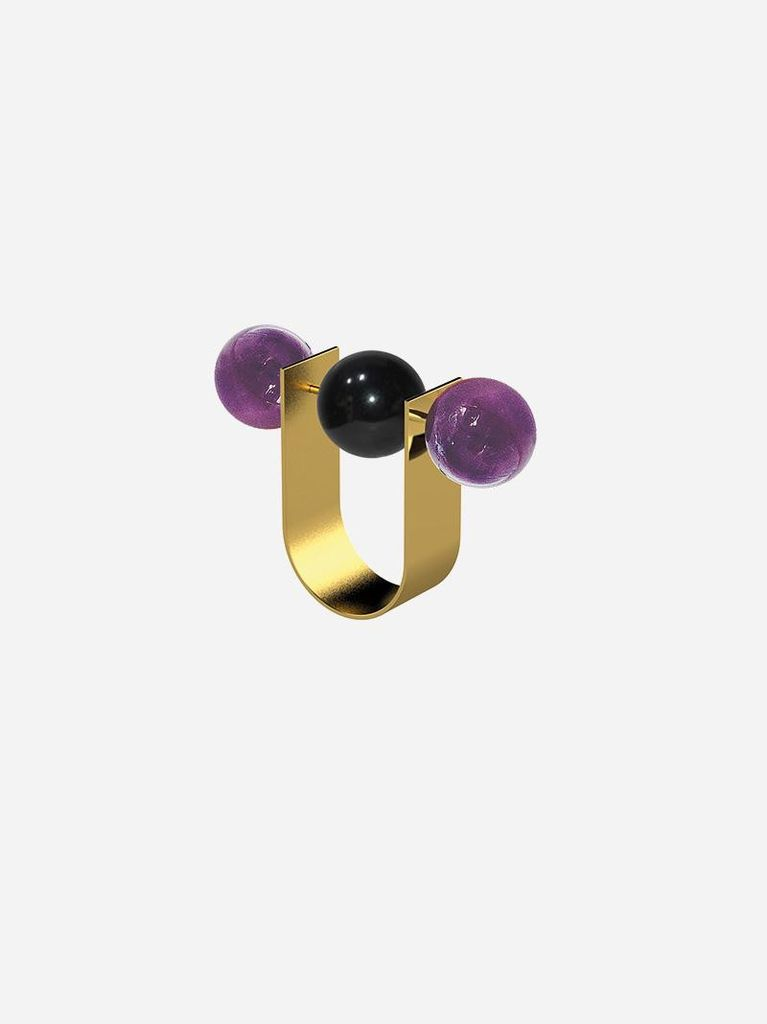 Ana Joao Ana Joao - Unexpected Ring with Amethyst and Onyx