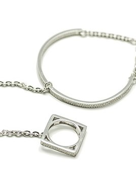 Sally Skoufis Sally Skoufis - Sub - Cuff with Square Ring - Steling Silver with CZ