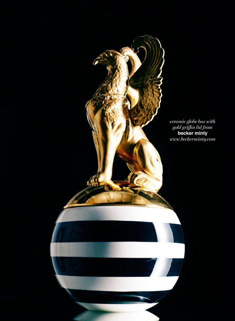 Ceramiche Dal Pra Ceramic Large Globe Box Stripes with Griffin - Gold - Handmade in Italy