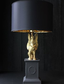 Ceramiche Dal Pra Pair of Ceramic Griffin Lamps with Black Shade (Gold Interior) - Matte Black and Gold - H66xD35 - Handmade in Italy
