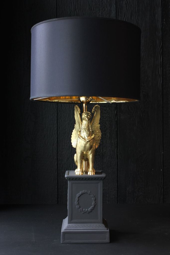 Ceramiche Dal Pra Pair of Ceramic Lamps with Griffin with Shade - Matte Black and Gold - H66xD35 - Handmade in Italy