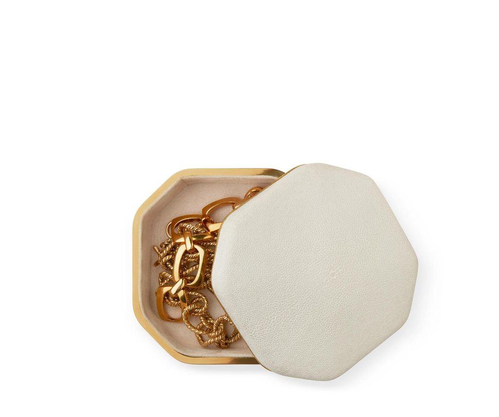 Aerin AERIN - Octaganol Shagreen Box - Cream