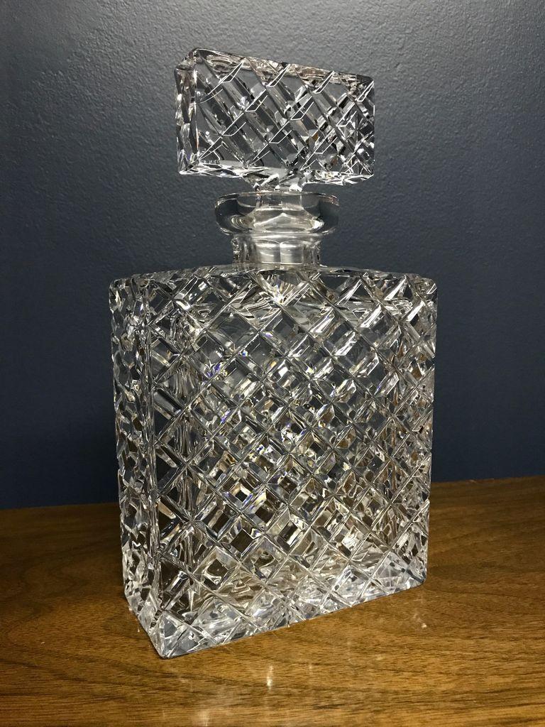B.M.V.A. Vintage Diamond Cut Crystal Decanter - Heavy Rectangular Shape