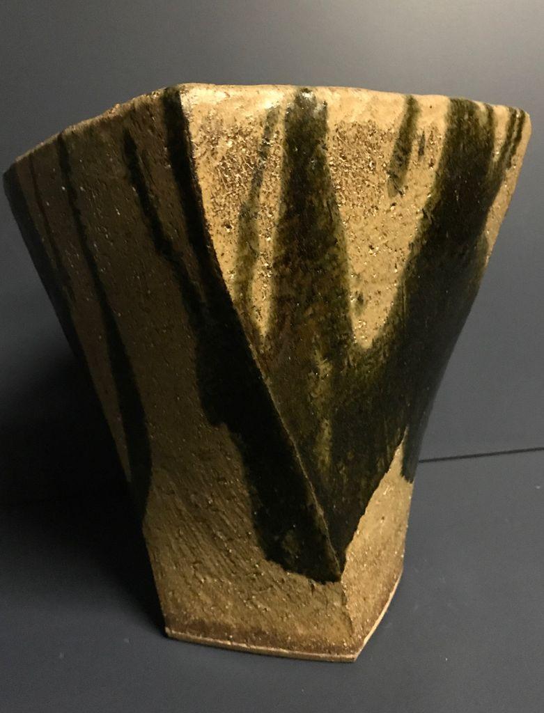 shapiro Ikebana Vase - Japanese Studio Pottery -H 28xD24cm - Showa Period c1960
