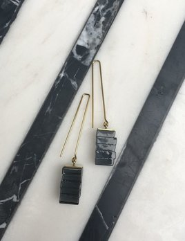 Rosa Mendez Rosa Mendez - New York long cube earrings - Blk - Handmade in Spain