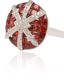 Stenmark - Snowflake Red Sapphire and Diamond Ring - 18ct White Gold.