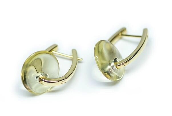 Stenmark - Discus Earrings - 14ct Yellow Gold with Citrine.
