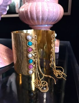 Sylvia Toledano Sylvia Toledano - Manchette Gypsy Cuff - Gold Plated Brass with Multi Colour Stones