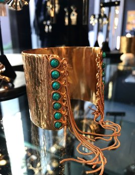 Sylvia Toledano Sylvia Toledano - Gypsy Cuff - Gold Plated Brass with Turquoise Stones