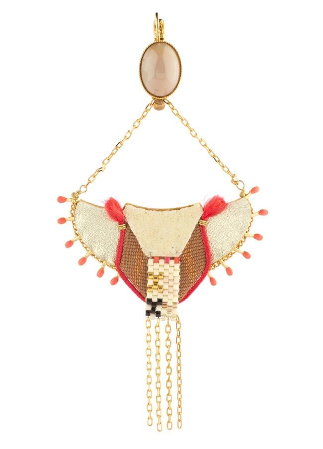 Satellite Fashion Sleeper Earrings with Shagreen - Red - 14ct gold plated - Paris