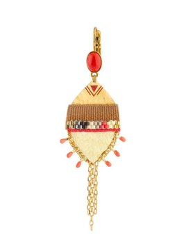 Satellite Unusual Sleeper Earrings with Shagreen & Coral - Red - 14ct Gold Plated