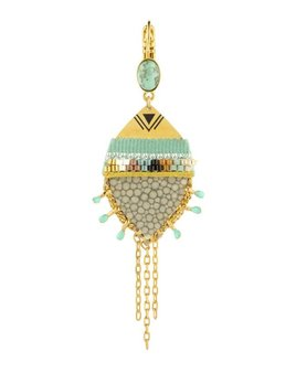 Satellite Unusual Sleeper Earrings with Shagreen & Turquoise - 14ct gold plated