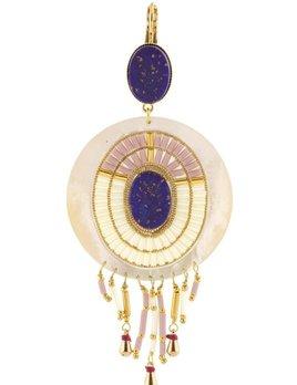 Satellite Feminine Clip on Earrings - Lapis -  14ct gold plated - Paris
