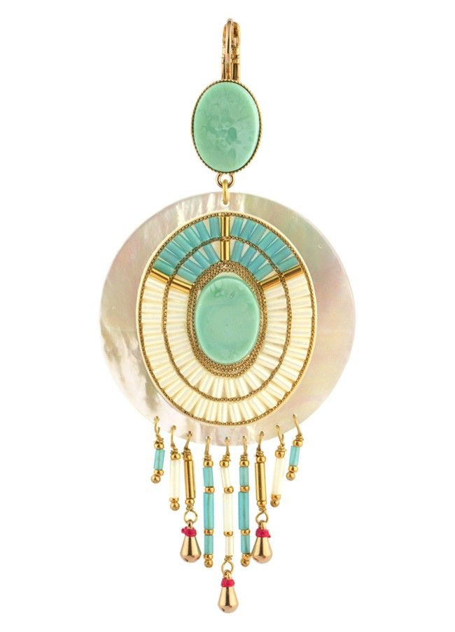 Satellite Feminine Clip on Earrings Turquoise - 14ct gold plated - Paris