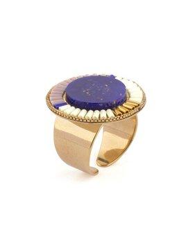 Satellite Ethnic Rings - Lapis - 14ct gold plated - Paris