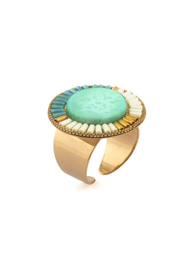 Satellite Ethnic Rings - Turquoise - 14ct gold plated - Paris