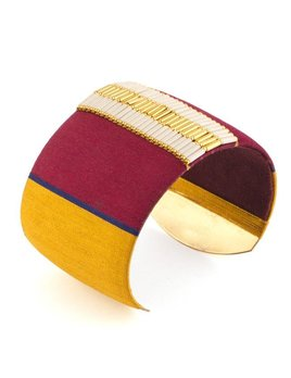 Satellite Fashion Wide Cuff - Burgundy - 14ct gold plated - Paris