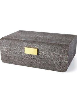 AERIN - Modern Chocolate Embossed Shagreen Jewellery Box - Large