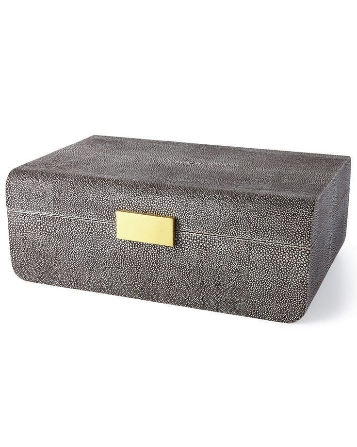 AERIN - Modern Chocolate Embossed Shagreen Jewellery Box - Large