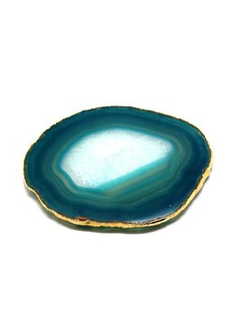 Set of 4 Large Teal Agate Coasters - Electroplated Gold - Brazil