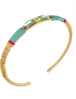 Satellite Fashion Thin Cuff - Turquoise - 14ct gold plated - Paris