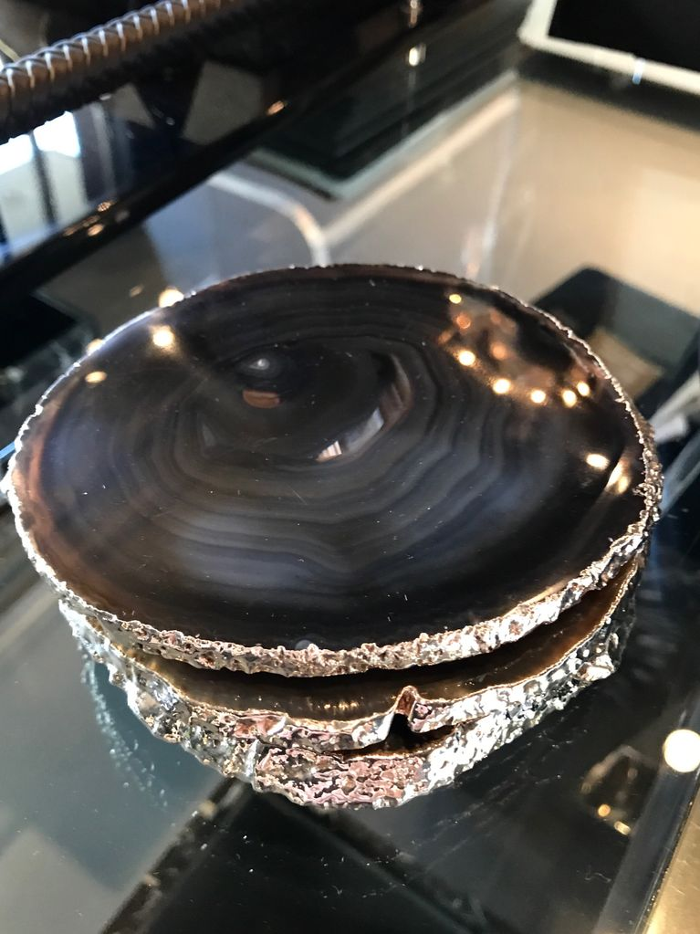 Set of 4 Large Black/Brown Agate Coasters - Electroplated Silver - Brazil