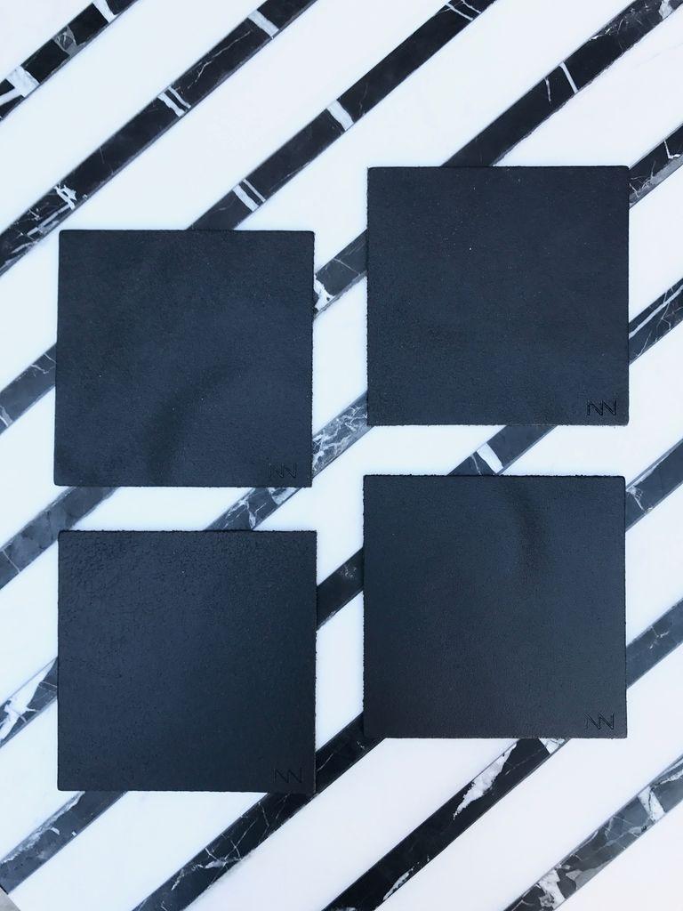 Michael Verheyden Michael Verheyden - Leather Coaster - Square - Black - Sold Individually