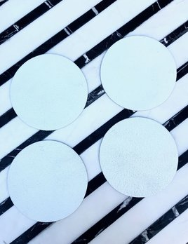Michael Verheyden Michael Verheyden - Leather Coaster - Round - White - Sold Individually