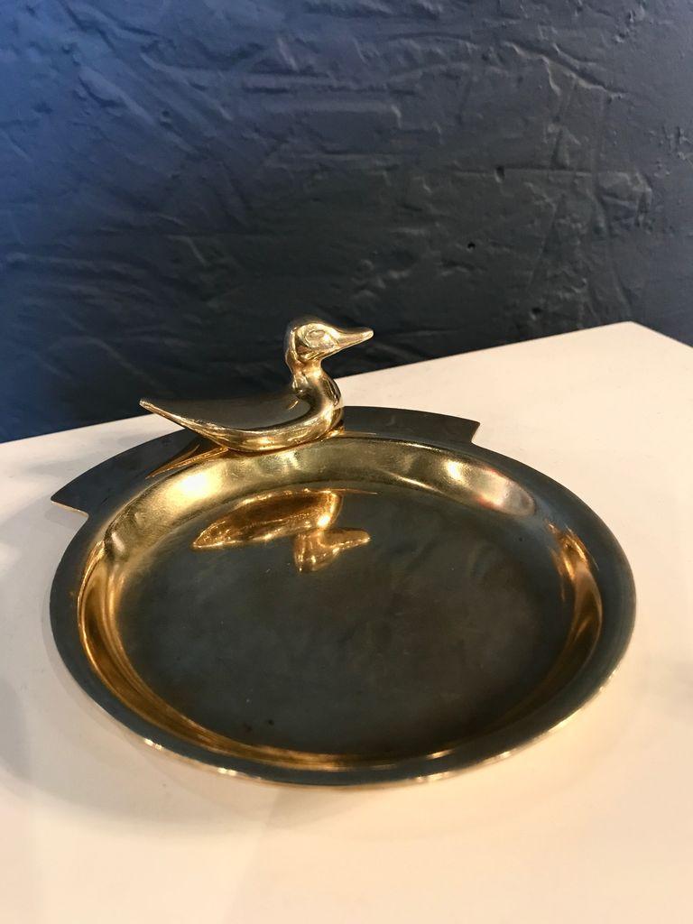 B.M.V.A. Vintage Brass Duck Money Tray - Catch All - D13xH4cm