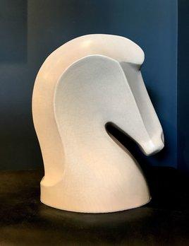 fdc FDC - Horse Head - Crackle Glaze Ceramic - Off White - H43cm