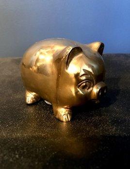 Adorable Vintage Brass Piggy Bank -L13cm