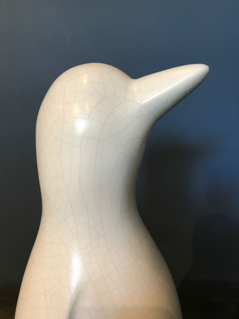 fdc FDC - Penguin - Crackle Glaze Ceramic - Off White - H40cm