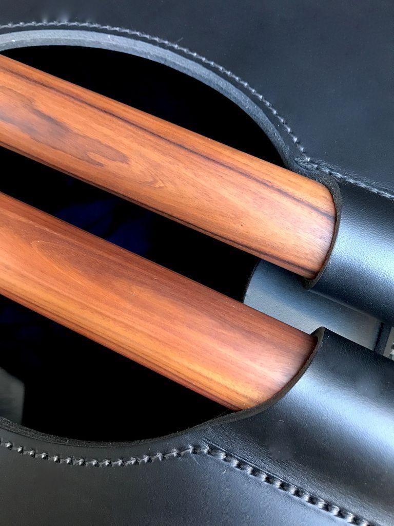 B.Home Interiors Rabitti - Jota Black Leather Storage Basket / Box with Wooden Handles - Square