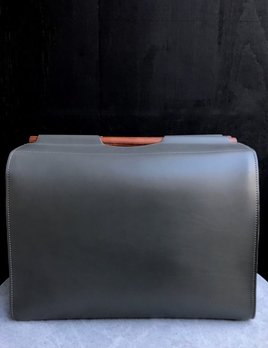 B.Home Interiors Rabitti - Jota Grey Leather Storage Basket / Box with Wooden Handles - Rectangular