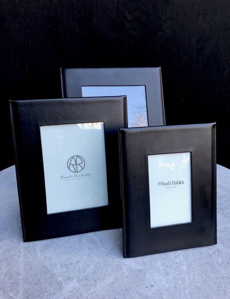 B.Home Interiors Rabitti - Simple Medium Photo Frame - Black Saddle leather - 22x27cm