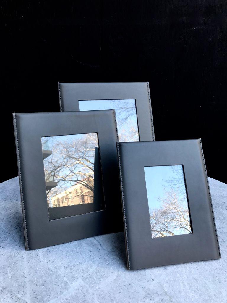 B.Home Interiors Rabitti - Simple Medium Photo Frame - Graphite Saddle leather - 22x27cm