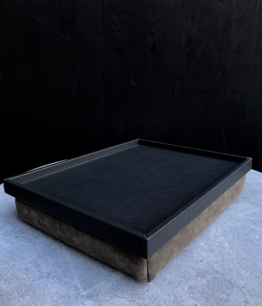 B.Home Interiors Teddy Bed Tray - Printed calfskin leather - Slate with Slate Stitching - 44.5x34x8cm